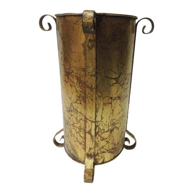 Gold Vintage Oval Waste Basket For Sale