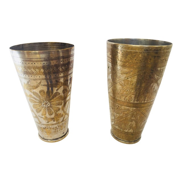 Anglo Raj Mughal Brass Engraved Beakers - Set of 2 For Sale