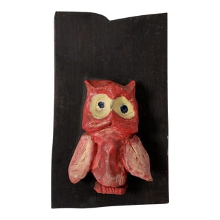 Mid-Century Ceramic and Ebony Owl Art Hanging