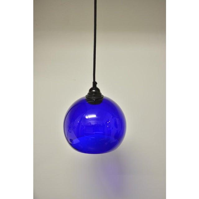 Mid-Century Modern Blue Glass Pendant Light - Image 2 of 6