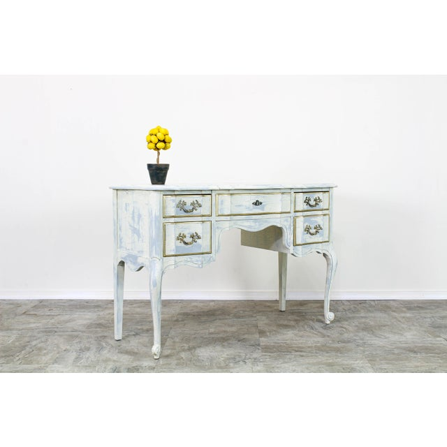 French Provincial White Shabby Chic Vanity Desk For Sale - Image 4 of 13