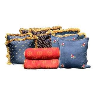 Collection of Red Blue & Gold Designer Monkey Lion Bolsters & Pillows - Set of 11 For Sale