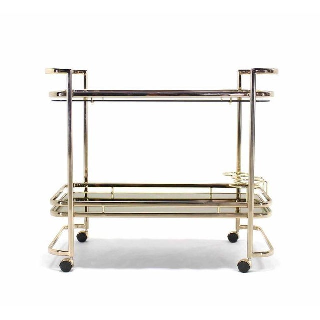 Smoked Glass Gold or Brass Finish Tea or Bar Italian Cart For Sale - Image 4 of 8
