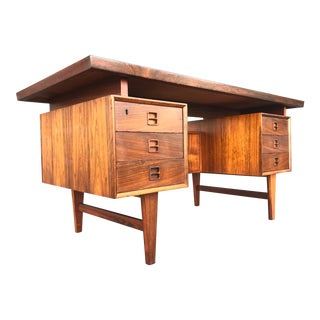1960s Danish Modern Kai Kristiansen Rosewood Executive Desk For Sale