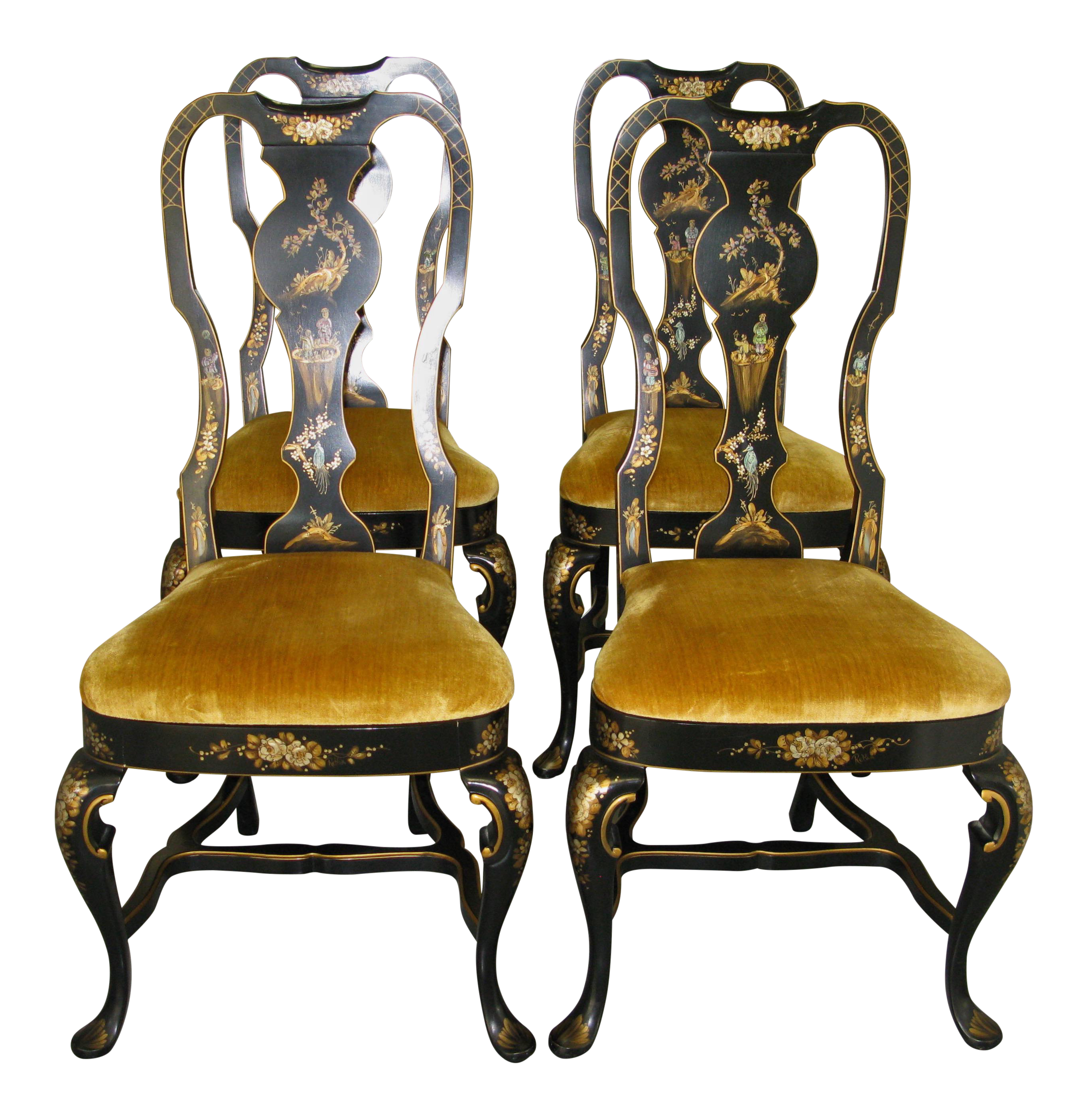 Chinoiserie Queen Anne Style Chairs   Set Of 4