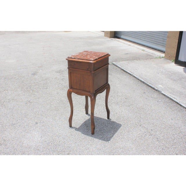 1900s French Louis XV Solid Walnut Nightstand For Sale - Image 12 of 13