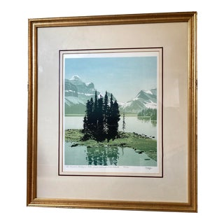 """The Narrows Maligne Lake, Jasper National Park"" Alberta Canada Numbered Signed Serigraph by George Weber 1973 For Sale"