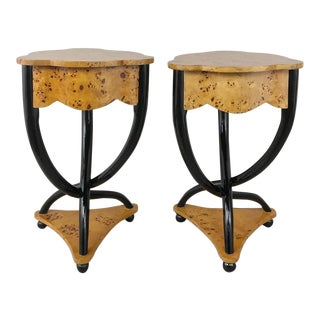Pair 19th Century Biedermeier Burl Wood Trefoil End Tables For Sale