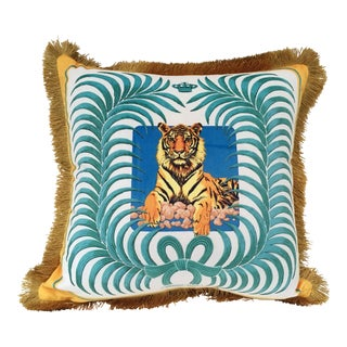 Tiger and Palm Leaf Pillow Cover For Sale