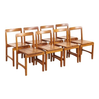 Vintage Mid Century Modern Solid Oak Wood Dining Side Chairs - Set of 8 For Sale