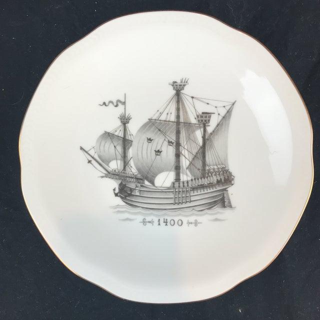 Gold Rostrand Ship Porcelain Plates - Set of 11 For Sale - Image 8 of 11
