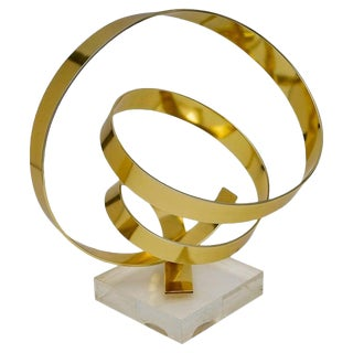 Anodized Aluminum Ribbon Swirl Sculpture Signed and Dated 1979 by Dan Murphy For Sale