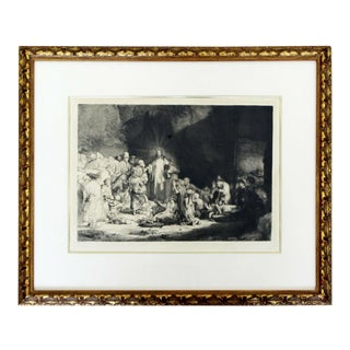 Antique 17th Cent. Rembrandt Van Rijn Christ Preaching Etching Drypoint Framed For Sale
