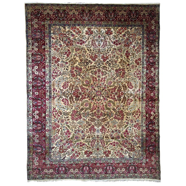 1900s, Handmade Antique Persian Kerman Lavar Rug 8.9' X 11.6' - 1b701 For Sale
