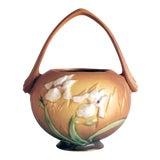 Image of 1930s Roseville Pottery Brown Iris Basket Vase For Sale