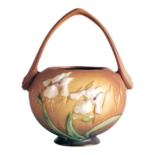 1930s Roseville Pottery Brown Iris Basket Vase For Sale