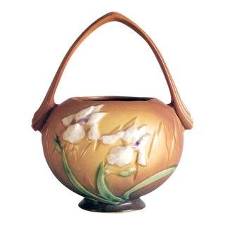 1930s Roseville Pottery Iris Basket Vase