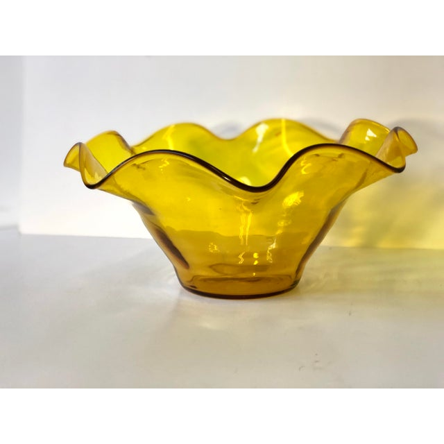 Midcentury Amber Art Glass Handkerchief Bowl For Sale - Image 10 of 11