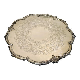 """Mid 20th Century Vintage 16"""" Round Silver Plate Footed Serving Platter For Sale"""