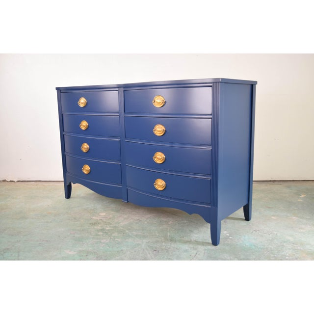 Bassett eight drawer dresser. Refinished in Flat lacquer color name In The Navy by Sherwin Williams. Original handles were...