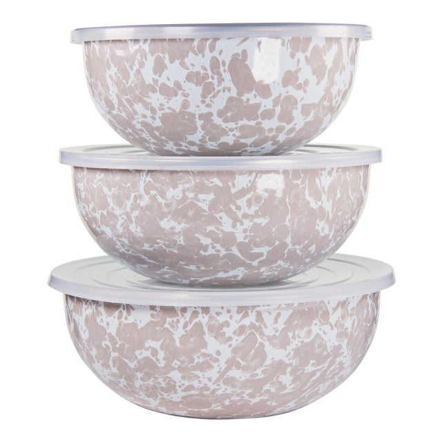 Mixing Bowls Taupe Swirl - Set of 3 For Sale