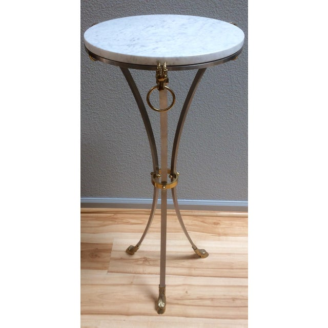 Hollywood Regency Marble & Brass Console Table - Image 2 of 8