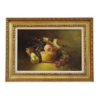 Antique Original Fruit Tablescape Still Life Oil Painting