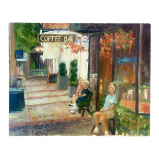 """""""Sanctuary at the Coffee Bar"""" Contemporary Figurative Outdoor Scene Oil Painting For Sale"""