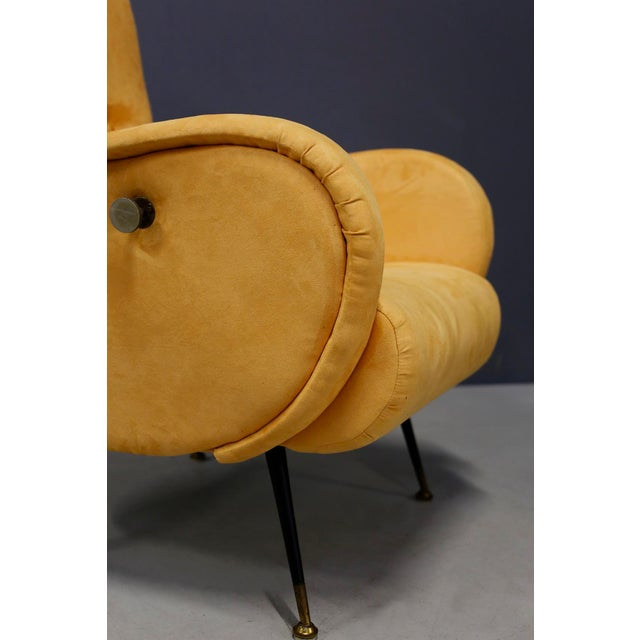 Metal Pair of MidCentury Reclining Armchairs in Yellow Velvet in Zanuso Style, 1950s For Sale - Image 7 of 9