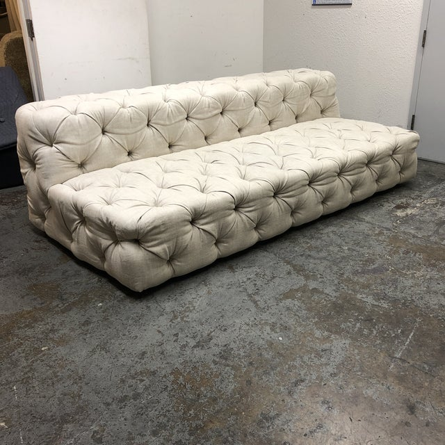 Contemporary Restoration Hardware Soho Armless Sofa For Sale - Image 3 of 13