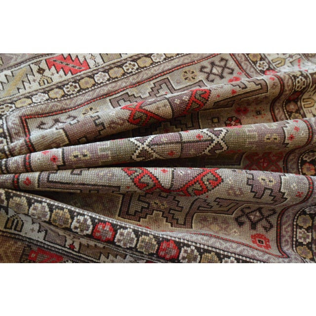 Distressed Vintage Star Kazak Rug - 3′9″ × 5′ - Image 7 of 9