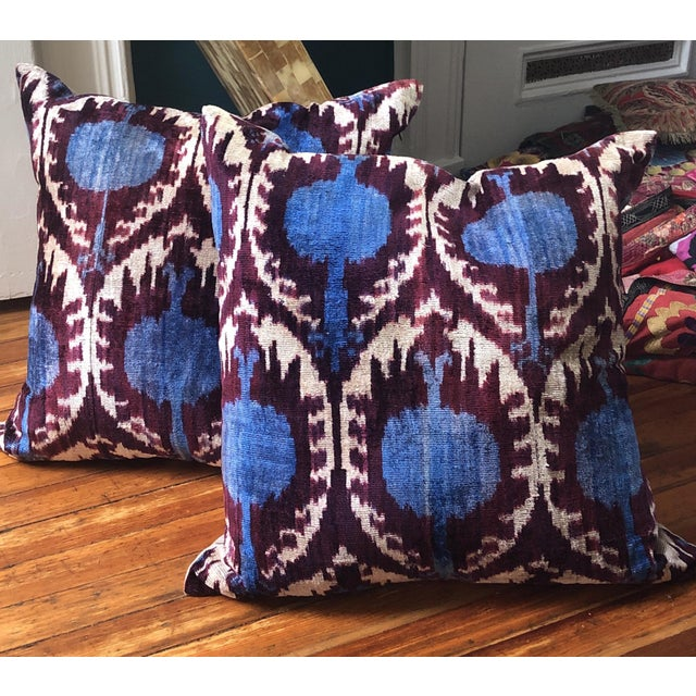 Boho Chic Purple and Teal Pillows - a Pair For Sale In New York - Image 6 of 6