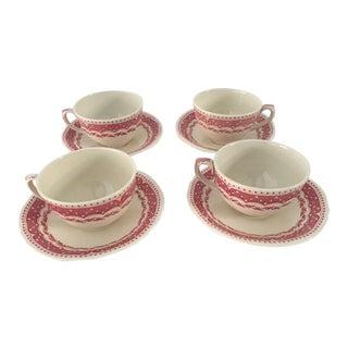"Vintage ""Avon"" Pattern Grindley-England Tea Cups & Saucers - Set of 4 For Sale"