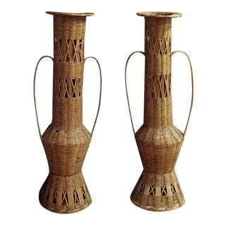Decorative Wicker Floor Vases - A Pair