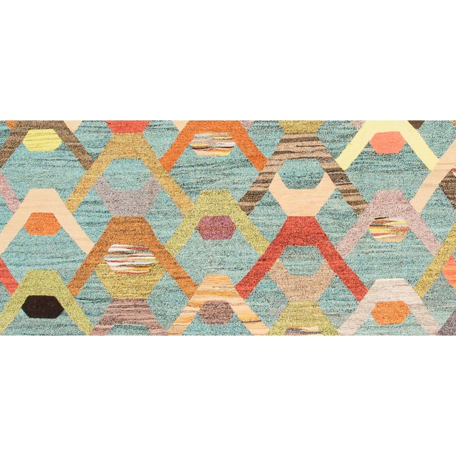 Abstract 21st Century Modern FlatWeave Rug For Sale - Image 3 of 4