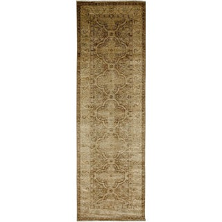 """New Oushak Hand-Knotted Runner - 3' 2"""" x 10' 2"""" For Sale"""