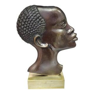 1930's Austrian Art Deco Bronze African Woman Bust Sculpture After Franz Hagenauer For Sale