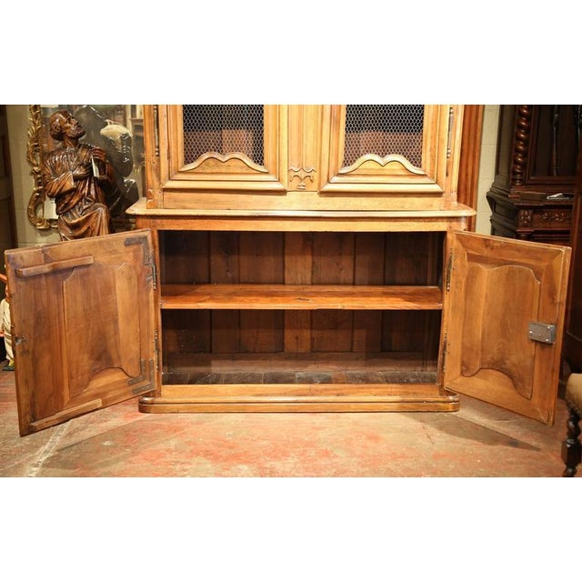 18th Century French Carved Walnut Buffet Deux Corps For Sale - Image 5 of 10