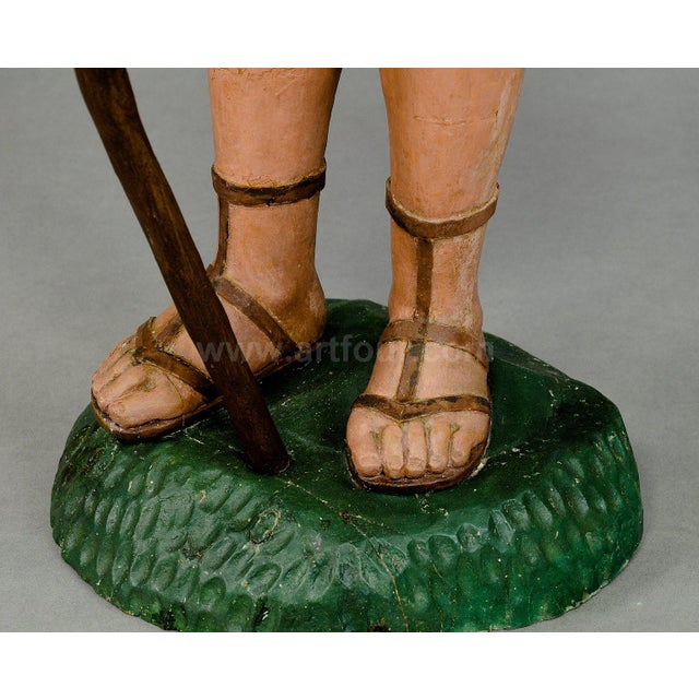 Early 19th Century Antique Wooden Carved Crib Figurine Of A Shepherd For Sale - Image 5 of 10