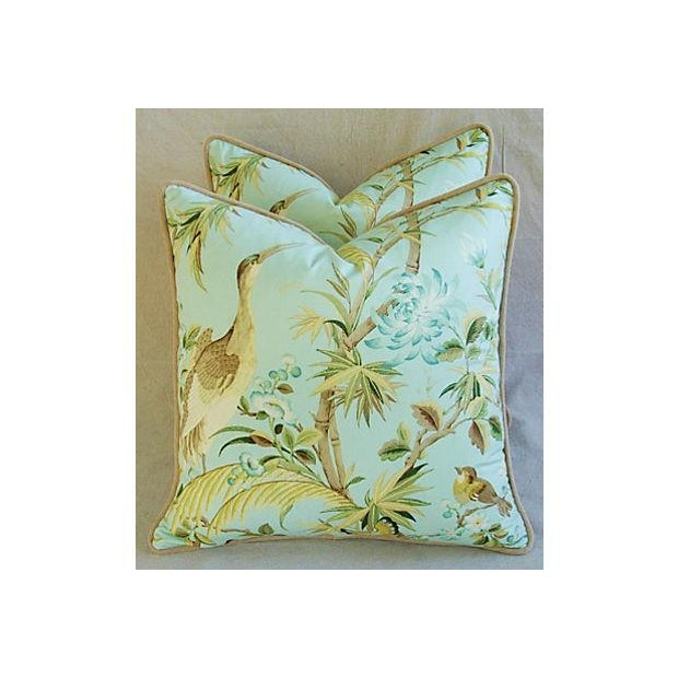Tropical Egret & Floral Pillows - Pair - Image 4 of 8