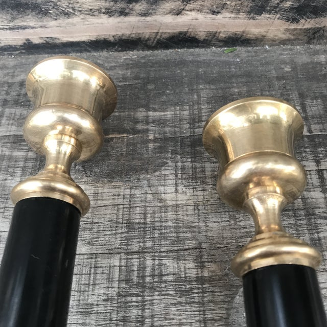 Gold Vintage Brass and Black Candlesticks - a Pair For Sale - Image 8 of 9