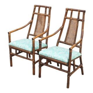 Vintage Bamboo and Cane Back Chinoiserie Chairs by American of Martinsville - a Pair For Sale