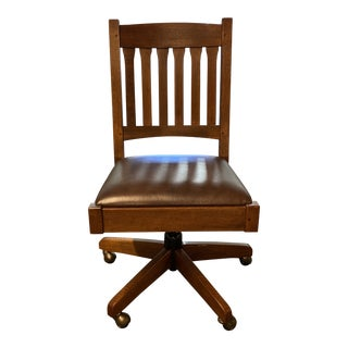 Stickley Mission Armless Swivel Leather Chair For Sale