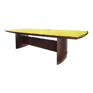 Jacaranda Reverse Painted Glass Top Dining Table by Joaquim Tenreiro, Re-Edition For Sale