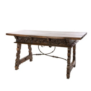 Spanish Baroque Period Walnut Writing Table With Lyre Base, Spain, Circa 1650. For Sale