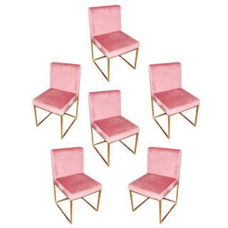 Hollywood Regency Pink Rose Velvet Brass Dining Chairs- Set of 6