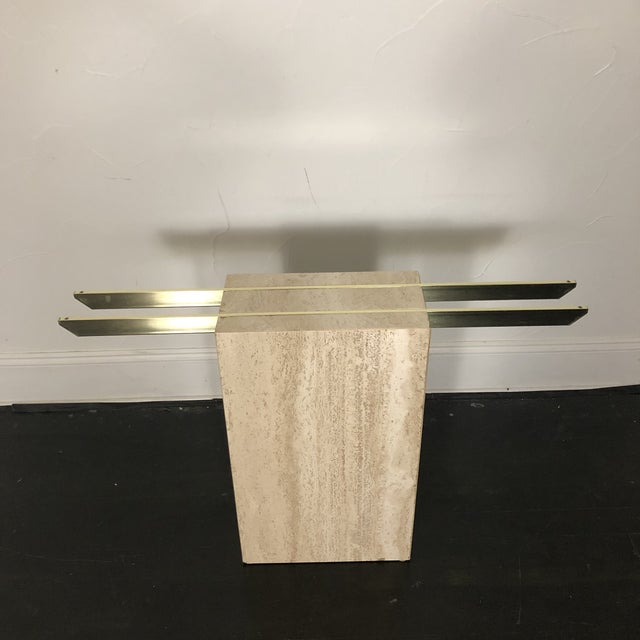 Brass 1970s Italian Marble/Brass Artedi Console Table For Sale - Image 8 of 13