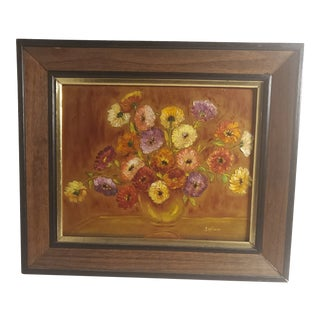 """1980s """"Bowl of Zinnias"""" Floral Still Life Watercolor Painting by Michael Spillane, Framed For Sale"""
