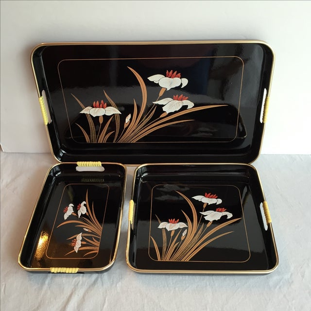Black Lacquered Trays - Set of 3 - Image 3 of 11