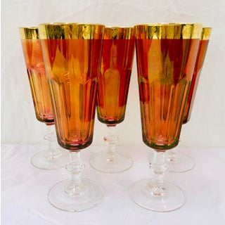 Set Antique Gold Rimmed Goblets Preview